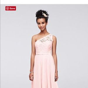 Pink short lace off-the-shoulder bridesmaid dress!
